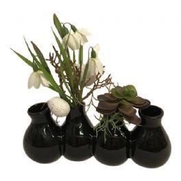 salg af Påskedekoration, sort vase m/pynt - kunstige blomster