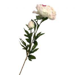 salg af Hvid pæon m/pink blade - 75 cm. - kunstige blomster