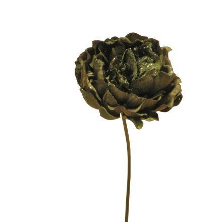 salg af Peon, grøn med guld glimmer, højde 28 cm. - kunstige blomster