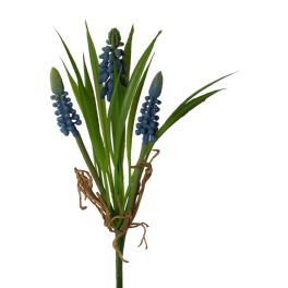 salg af Perle Hyacinther i bundt, blå,  22 cm. - kunstige blomster