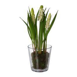 salg af Perle Hyacinther i glas, hvide, 16 cm - kunstige blomster