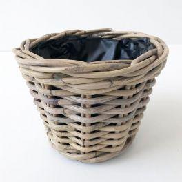 salg af Rattan kurv, lys grå - Ø22 cm.