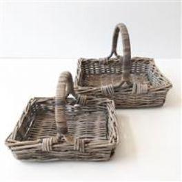 salg af Rattan kurv m/hank - grå - 30*35 cm.