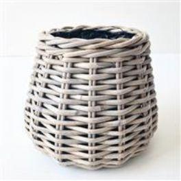 salg af Rattan kurv m/plast - dråbe - lys grå - ø 20 cm.