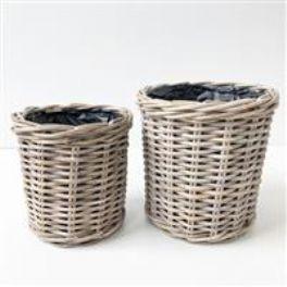 salg af Rattan kurv m/plast - lige - lys grå - ø 27 cm.