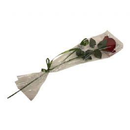 salg af Rose mørk rød i celofan, 58 cm. - kunstige blomster