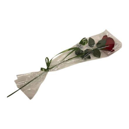 salg af Rose mørk rød, i celofan - 60 cm. - kunstige blomster