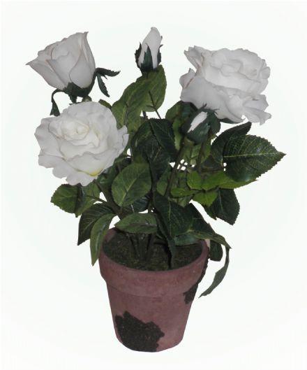 salg af Hvid potterose, 34 cm. - kunstige blomster