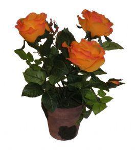 salg af Rose, potteplante 34 cm. - Orange - kunstige blomster