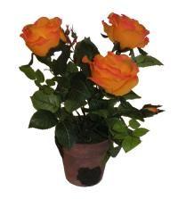 salg af Orange potterose, 34 cm. - kunstige blomster