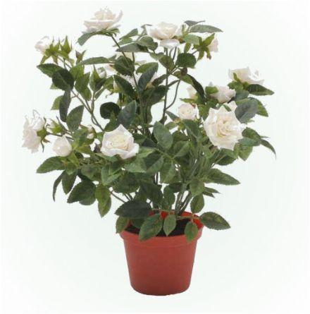 salg af Potterose, creme - 30 cm. - kunstige blomster