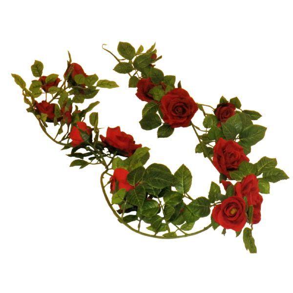 Rosenranke 180 cm. med røde roser - Blomstrende hængeplanter