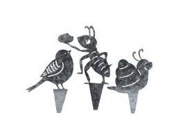 salg af Zink dyr, 3 ass. - ca. 9*12 cm.