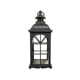 salg af Sort lanterne, plast - Roma - 13*13*34 cm. - kunstige stearinlys
