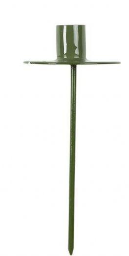 salg af Spyd til kertelys, grøn metal - 12 cm.