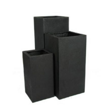 salg af Sort glasfiber krukke, 30*30*60 cm.