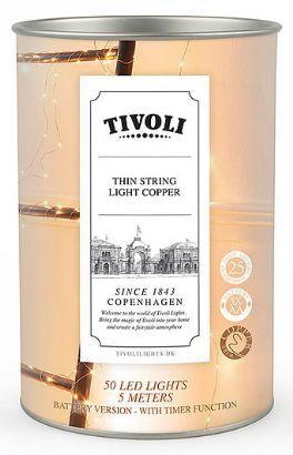 salg af Tivoli lyskæde, kobber - batteri - 5 m.