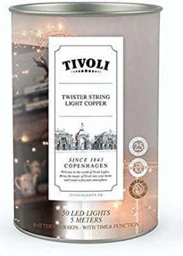 salg af Tivoli lyskæde, sølv - batteri - 5 m.