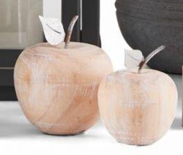 salg af Træ æble m/zink blad, 6*9 cm.