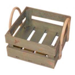 salg af Træ kasse m/træ håndtag - grøn - ø21*21 cm.