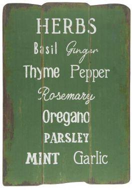 salg af Træskilt m/krydderurte navne - 1*37*16 cm.