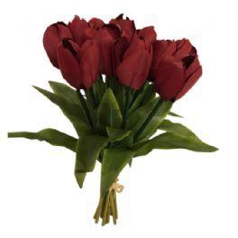 salg af Tulipanbuket, mørk rød - 35 cm. - kunstige blomster