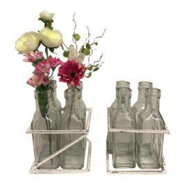 salg af Vase m/4 flasker i stativ - hvid - 11*11*H 15 cm.