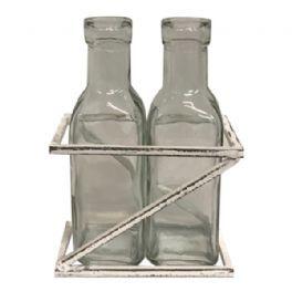 salg af Vase med 2 flasker i stativ - B11,5*H16*D6 cm.