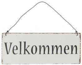 salg af Velkommen skilt, - metal - 7*15 cm.